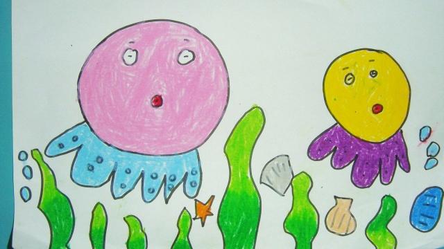 蜡笔画----海底世界(涵中班第一学期大作)