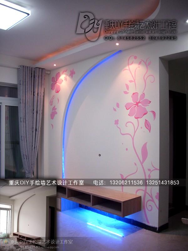 【重庆手绘墙·diy墙绘工作室】渝北·电视墙 儿童房墙画(图)