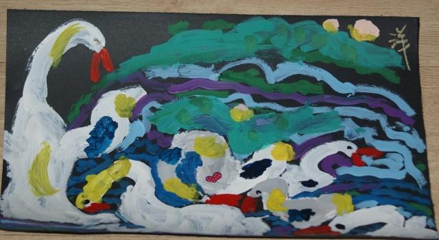 可能是去过森林公园北园看过大鹅,连草坪上的鹅粪都画上了,还有鹅蛋