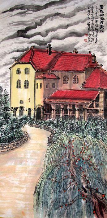 杨廷成青岛建筑和著名风光景点国画作品