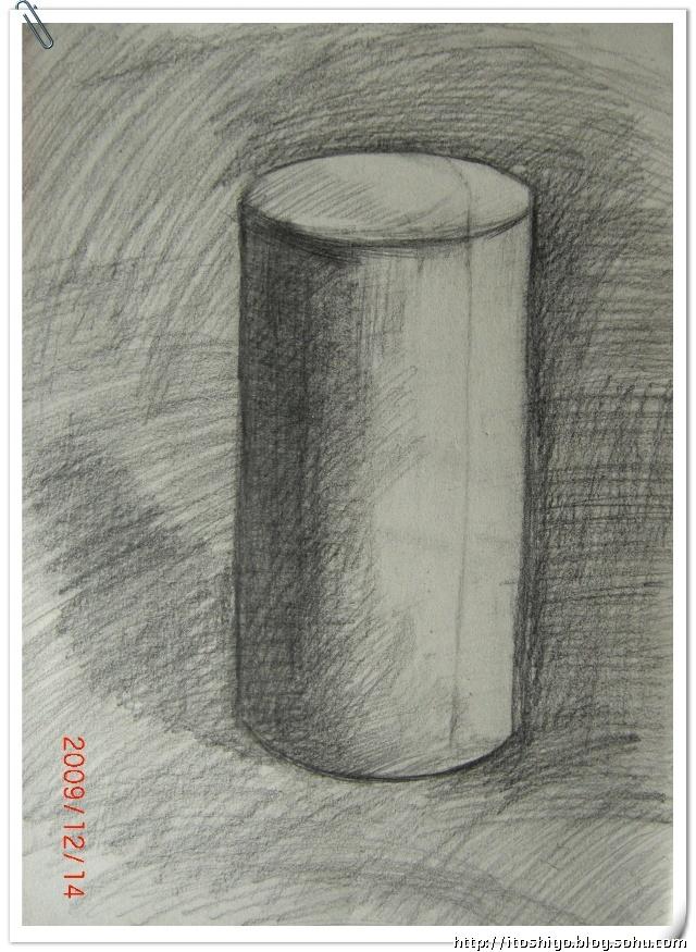 平躺的圆柱体素描