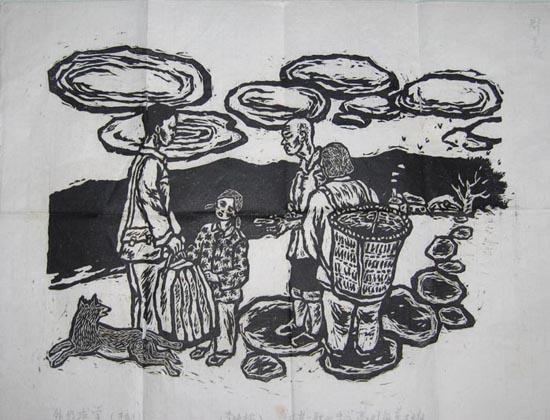 《外出求学》       木刻版画        八开左右      高中时代