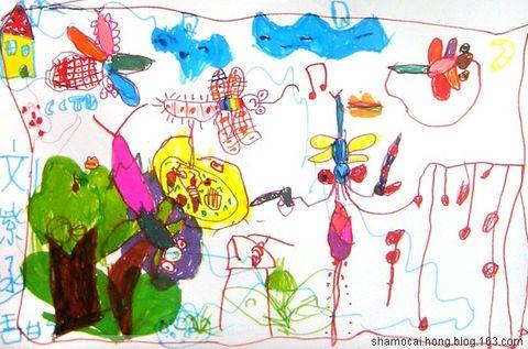 彩虹儿童画范画