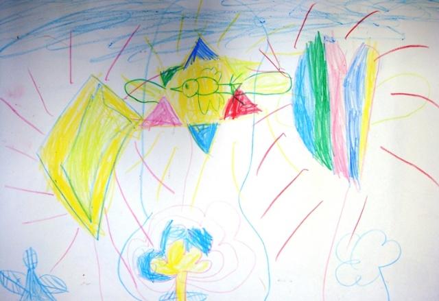 美术老师还引证:你看别的孩子,最起码都是太阳的形状.