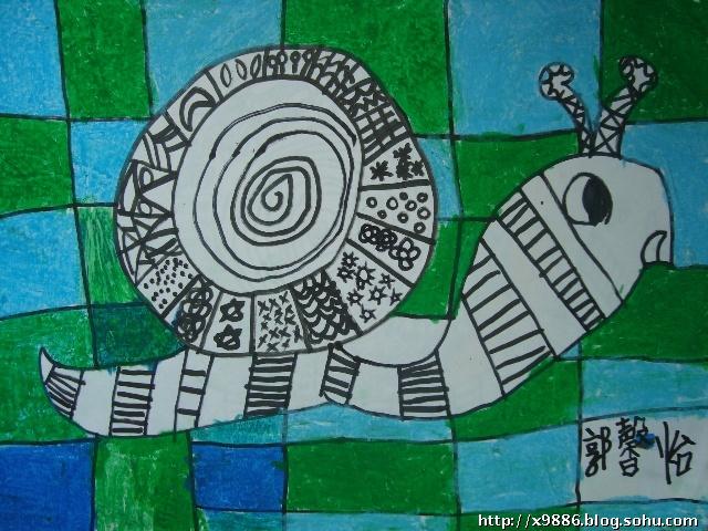 """""""1+1""""美术兴趣班作品:线描画《蜗牛比美》"""