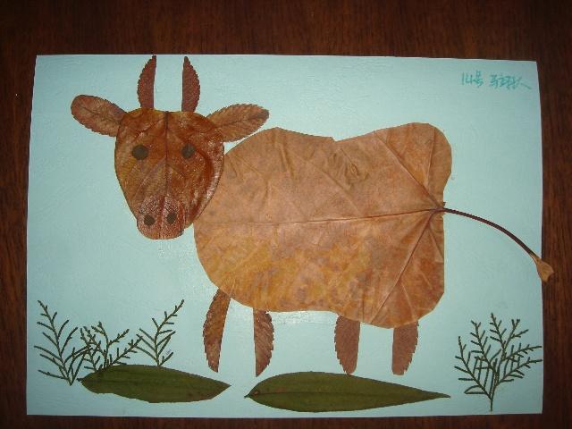 树叶贴画作品图片大全儿童树叶贴画作品欣赏树叶  树叶贴画作品孔雀
