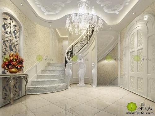 为了符合整体的风格效果,设计师Awen对原本直角弯的楼梯做了处