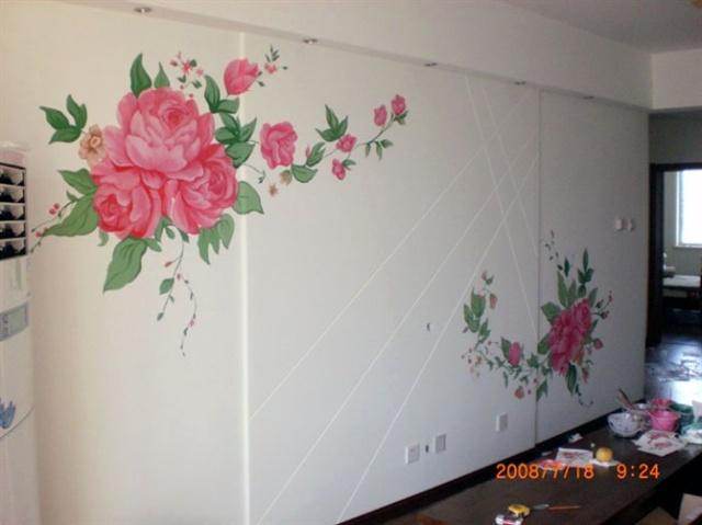 价格与手绘墙画一样,图案均为简单的小花草