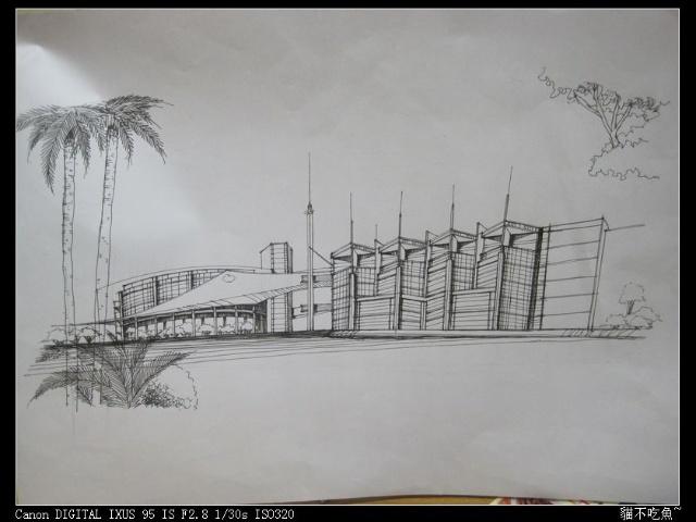 现代建筑钢笔画